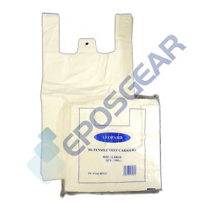 1000 Cheap Large Plain White Vest Style Shopping Plastic Carrier Bags 11x17x21