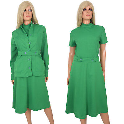 Vintage 70s A-Line Day Dress GREEN Ribbed Dbl Knit Poly Theme Party Costume