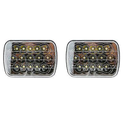 """7X6"""" Black Chrome LED HID  Light Bulbs Clear Sealed Beam Headlight Lamp Pair"""