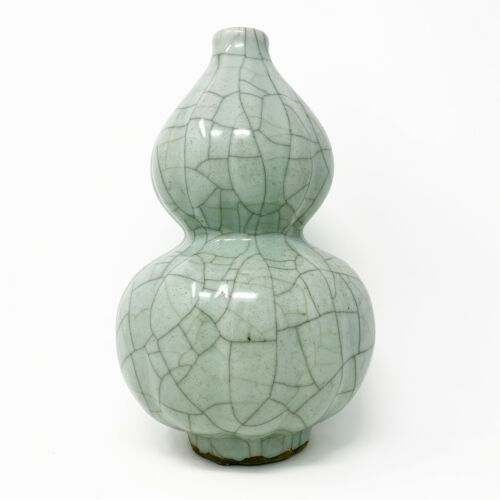 Chinese Meiping Double Gourd Celadon Vase Ge Guan Ko Type Crackleware Glaze 13""