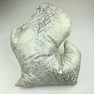 State of Michigan Shaped Pillow Embossed Silver Tree Mitt Shaped 21
