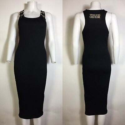 Rare Vtg Versace Jeans Couture Black Buckle Logo Dress XS