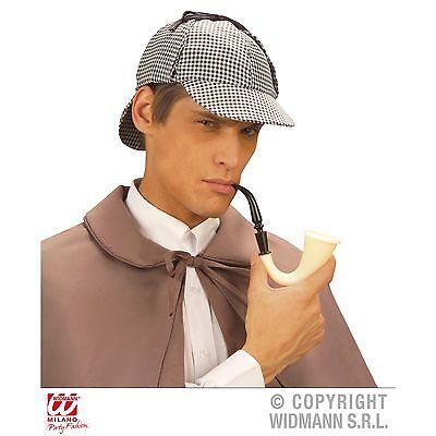 Sherlock Holmes Hut Deerstalker und Pfeife Detektiv Kostüm Zubehör - Neuware ()