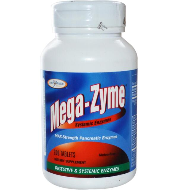Mega-Zyme, Systemic Enzymes, 200 Tablets - Enzymatic Therapies