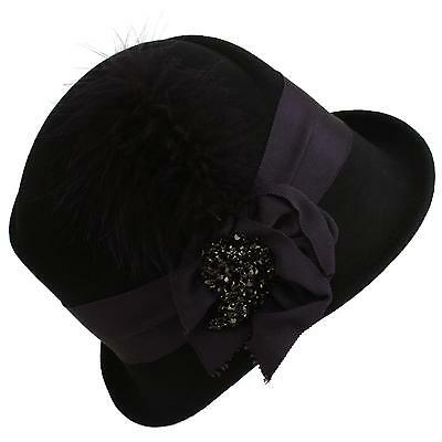 Winter Wool 1920s Classy Flying Feathers Crystals Cloche Bucket Church Hat Black