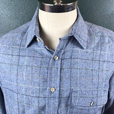 Men's Wool Blend Vintage Field master Plaid Flannel Large L 16 16 1/2 Plaid Wool Blend Flannel
