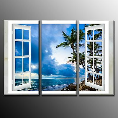 FRAMED  Blue Beach Landscape Outside Window Wall Art Canvas Painting Print-3pcs Beach Outdoor Canvas Painting