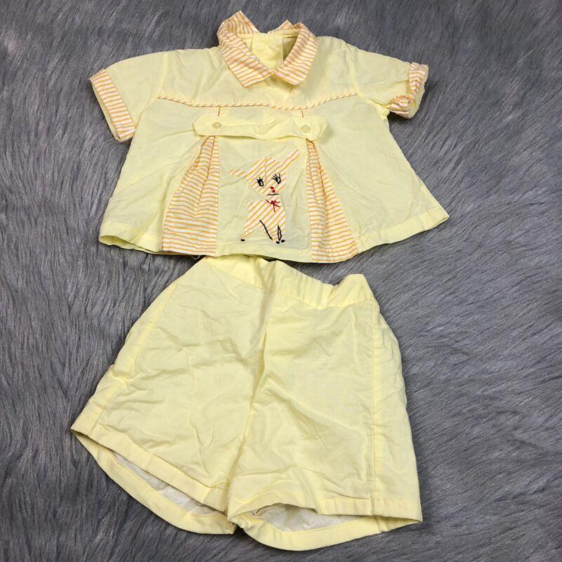 Vintage Baby Boys 1950s Yellow Deer Shirt Shorts Set