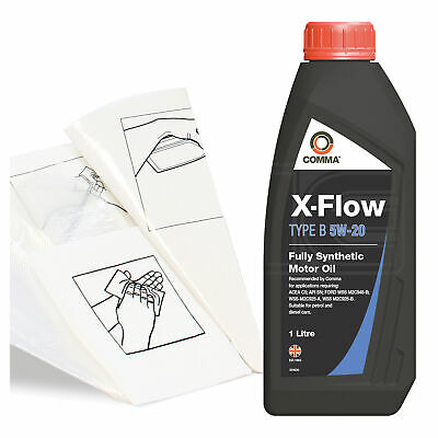 Engine Oil Top Up 1 LITRE Comma X-Flow Type B 5W-20 FS 1L +Gloves,Wipes,Funnel