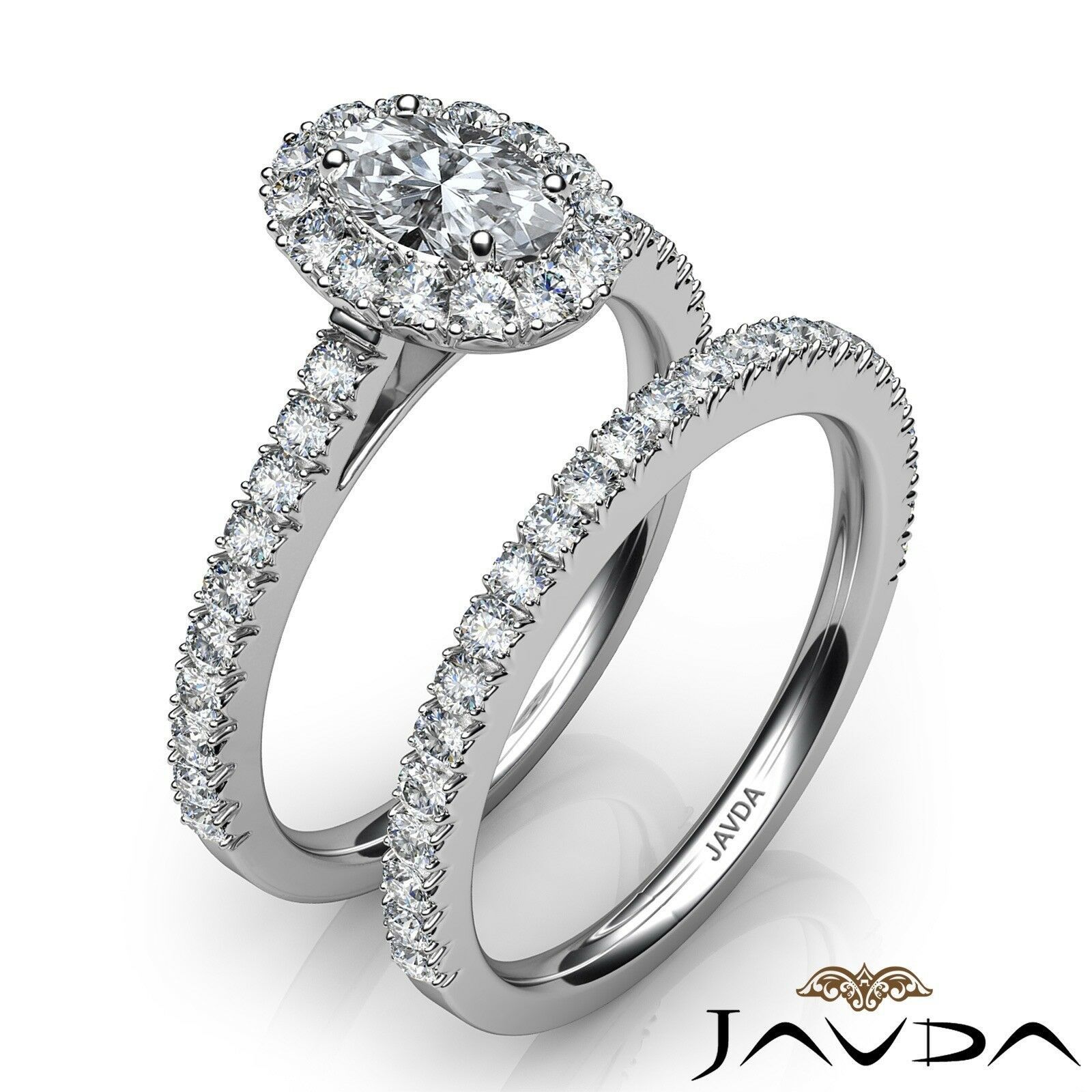 2.21ctw Halo Bridal French Pave Oval Diamond Engagement Ring GIA F-VVS2 W Gold 2