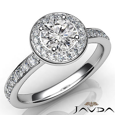 Cathedral Halo Round Diamond Engagement Pave Set Ring GIA F Color VVS1 0.95Ct
