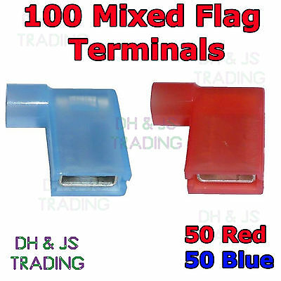 100 Mixed Flag Terminal Connectors Crimp On Right Angle Terminals Red & Blue 90°