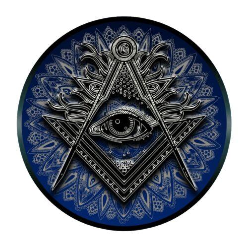 Shining All Seeing Eye Square & Compass Round Masonic Bumper Sticker