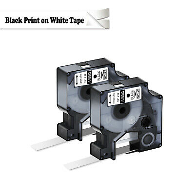 2pk For Dymo D1 Labelmanager 150 155 160 Label Black On White Tape 45013 12