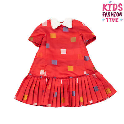 RRP €280 MIMISOL Trapeze Dress Size 6Y Geometric Silk Collar Made in Italy
