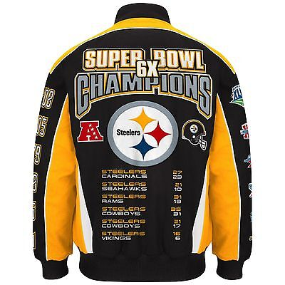Nfl Mens Pittsburgh Steelers 6 Time Super Bowl Champion Cotton   Twill Jacket