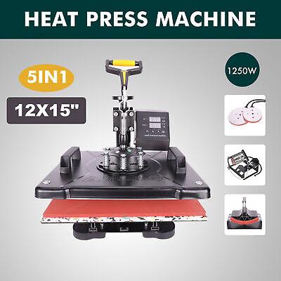 5 In1 T-shirt Cap Plate Mug Heat Press Machine 12x15 Digital Transfer Printer