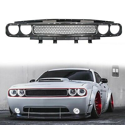 Grille Black w/ Chrome Trim Molding Upper for 08-14 Dodge Challenger