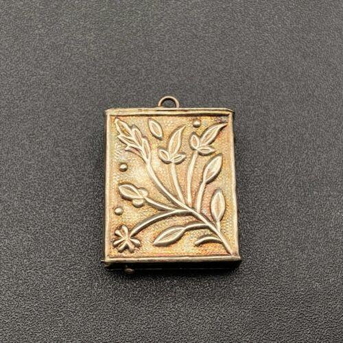 Vintage Repousse Flower Metal Box Pendant