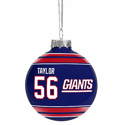New York Giants NFL Lawrence Taylor #56 Legends Glass Christmas Ornament 2 5/8