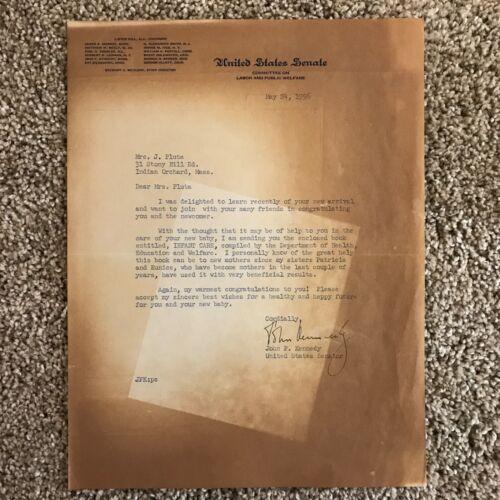 Senator JFK (John F Kennedy) Signed Typed Letter 1956 on Infant Care