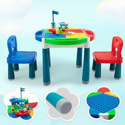 6-In-1 Multi Activity Plastic Table & 2 Chair Set Play Block Table Building Toy