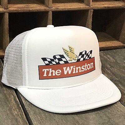 The Winston NASCAR Race Vintage 80s Style  Trucker Hat Snapback Mesh Cap White - The 80's Style