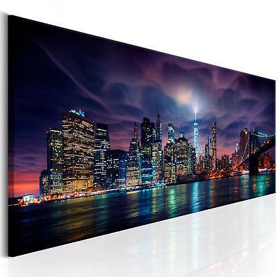 NEW YORK SKYLINE STADT NACHT Wandbilder xxl Bilder Vlies Leinwand d-B-0155-b-a