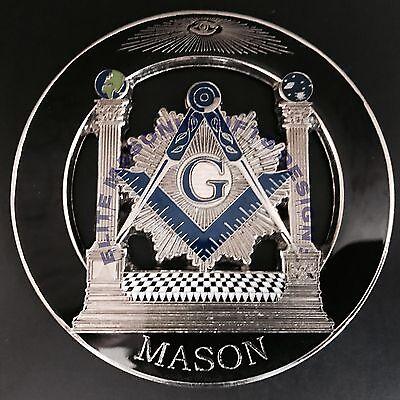 Master Mason Cut out Car  Emblem  Pillars black Silver.