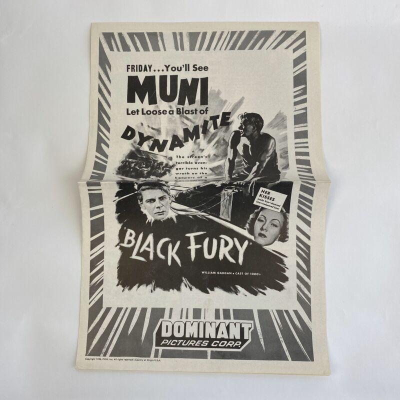 Vintage Pressbook Ad Black Fury 1935 1956 Paul Muni Karen Morley William Gargan