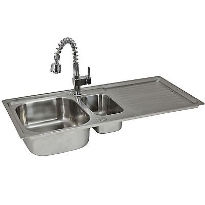Stainless Steel Kitchen Sink 1.5 Bowl Drainer Waste Mixer Tap Reversible Basin