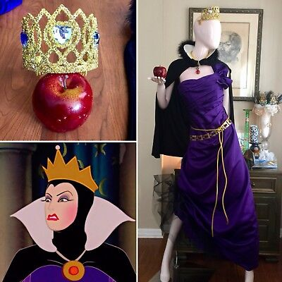 Snow Queen Cape (7 PC EVIL QUEEN Costume Set SNOW WHITE Cosplay DRESS Gown CROWN Cape APPLE)