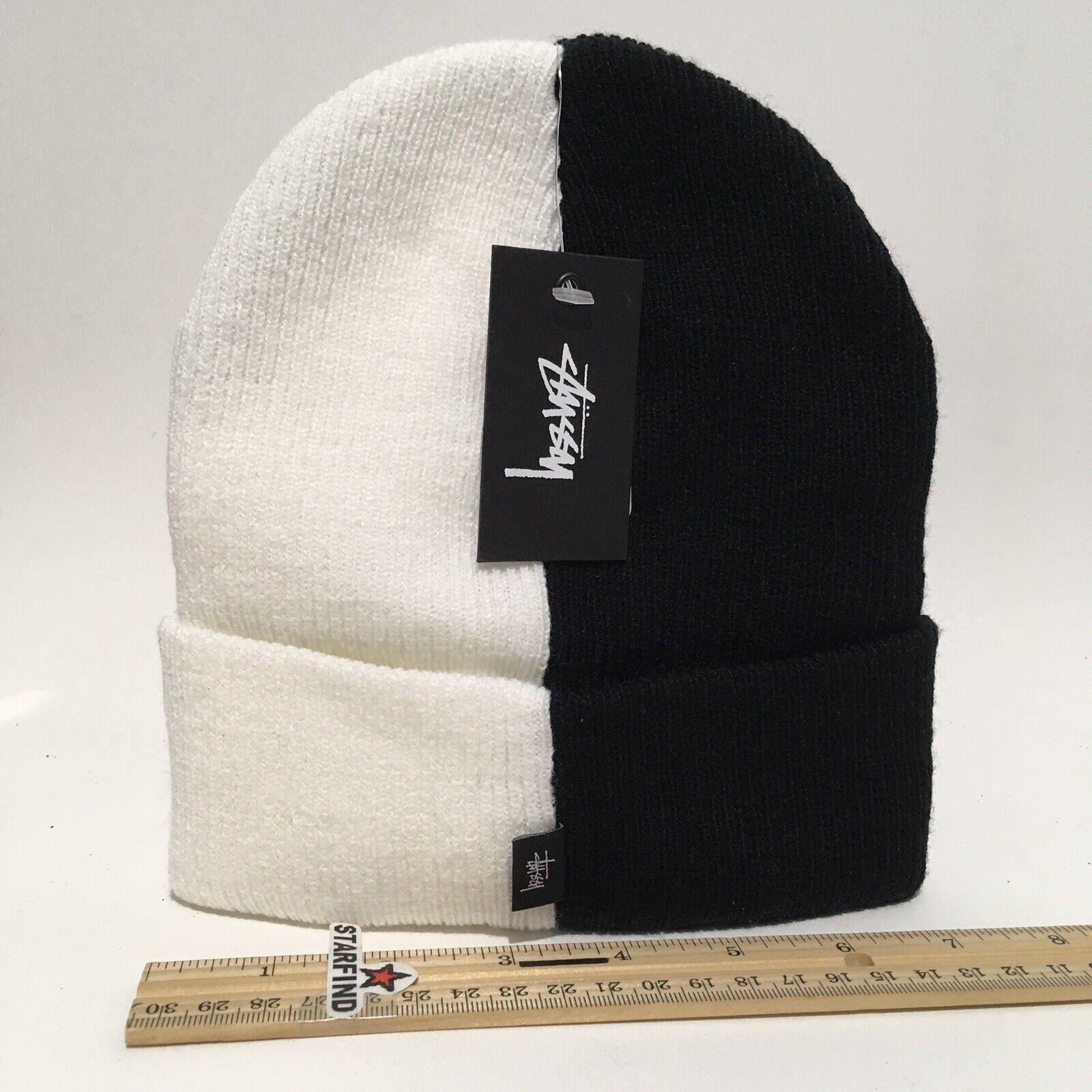 Stussy Half Black White 2 Tone Beanie Knit Cuff Cap Hat Unisex RARE NEW TAGS SEE