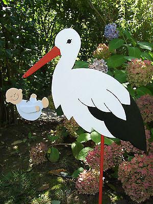80cm (aufgebaut) Storch aus Holz mit Baby (in Wunschfarbe) oder Zwillingen (Storch Mit Baby)
