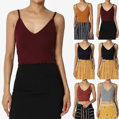 Stretch V-neck Camisole - TheMogan Basic Stretch Ribbed V-Neck Crop Cami W/ Ruffle Edge Cropped Tank Top