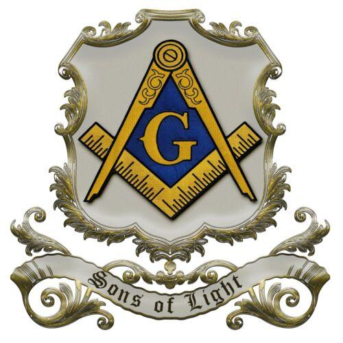 Sons of Light Square & Compass Masonic Bumper Sticker - [4 3/4