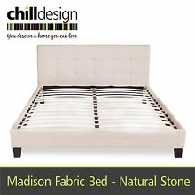 NEW DESIGNER UPHOLSTERED QUEEN TUFTED BEDHEAD FABRIC BED FRAME Moffat Beach Caloundra Area Preview