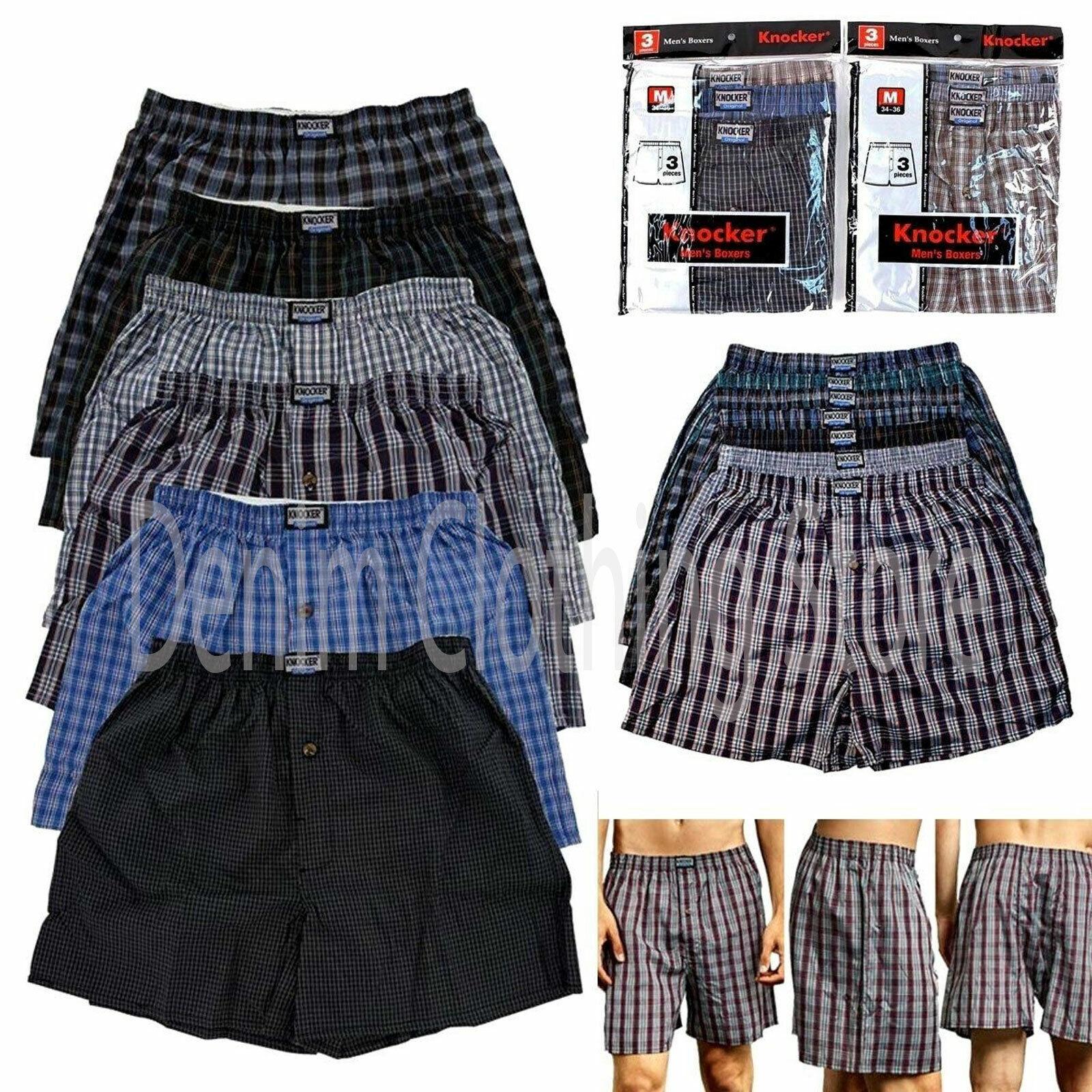 3 6 12 Pack Lot Men's Premium Boxer Underwear Plaid Shorts B