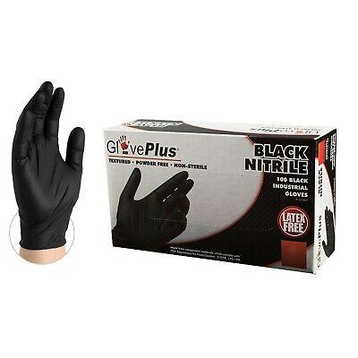 Ammex GlovePlus Black Nitrile Gloves- Large- 100ct/box- GPNB46100
