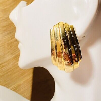 VTG Designer Paolo Gucci Signed Earrings 14k GP Gold Cuff Clip Italy