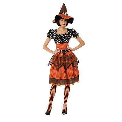 Orange Witch Costume (Adult Women's Polka Dot Orange Wicked Witch Halloween Costume Dress Hat S M)