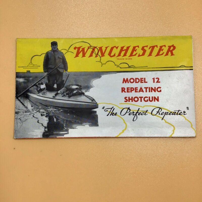 Vintage Brochure Advertisement for Winchester Model 12 Repeating Shotgun