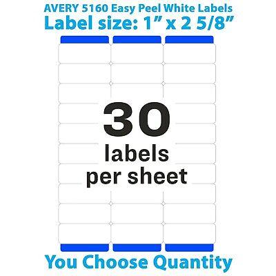 Avery Easy Peel Laser Address Labels 1 X 2 58 5160 You Choose Quantity