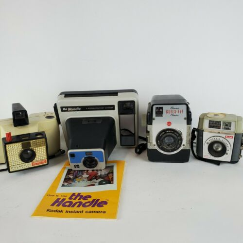 Lot of 4 Vintage Cameras Brownie Kodak Polaroid