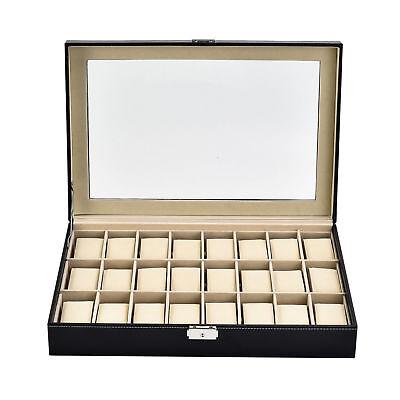 10-24 Slots Leather Wrist Watch Box Display Case Organizer Glass Jewelry Storage