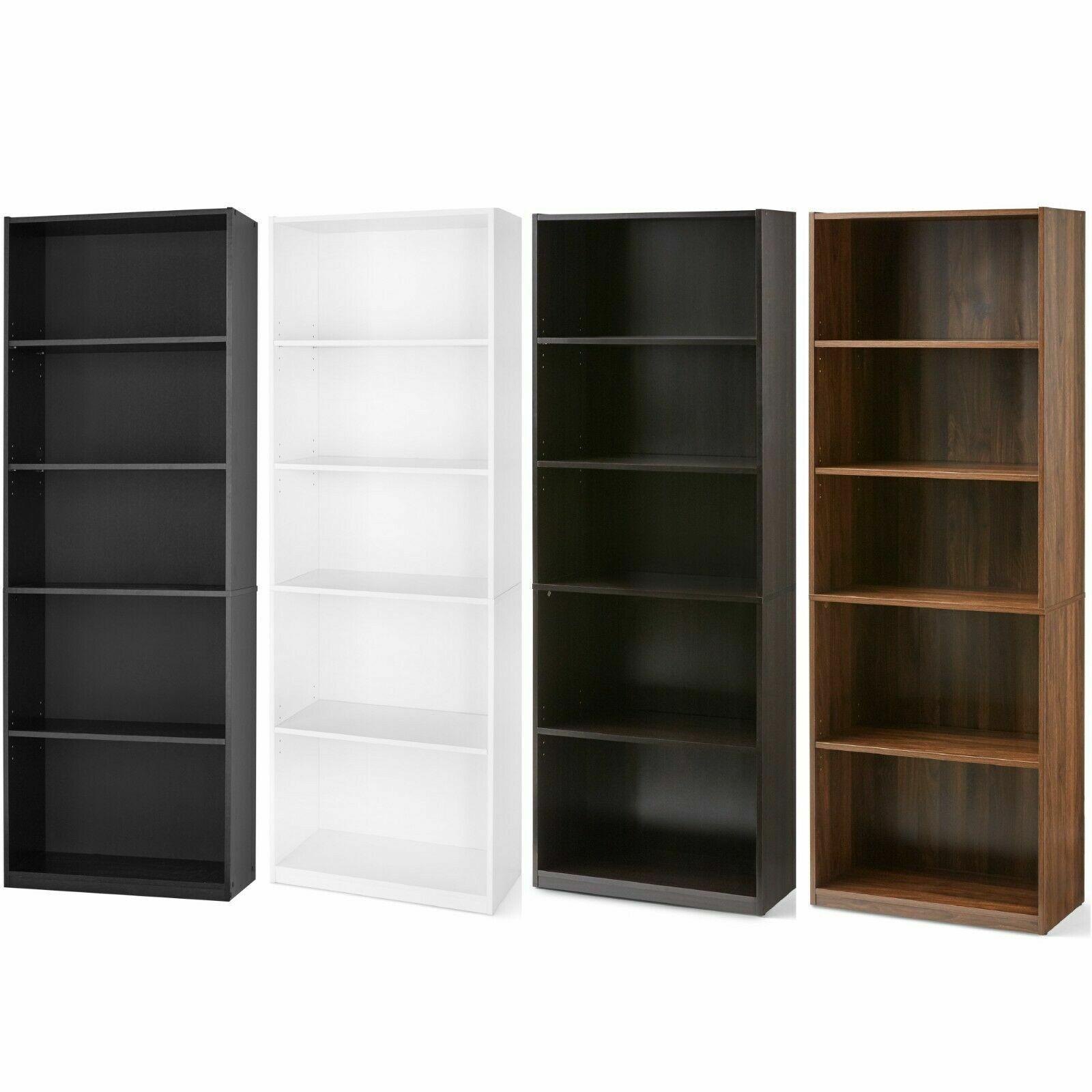 5 Shelf Book Case Adjustable Shelves Storage Unit Wood Tall