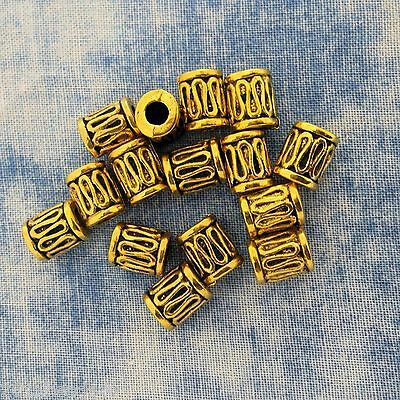 Antique Gold Alloy Metal Tube Bead 20 Pieces 6.8mm x 8.6mm #0596B Antique Gold Metal Bead