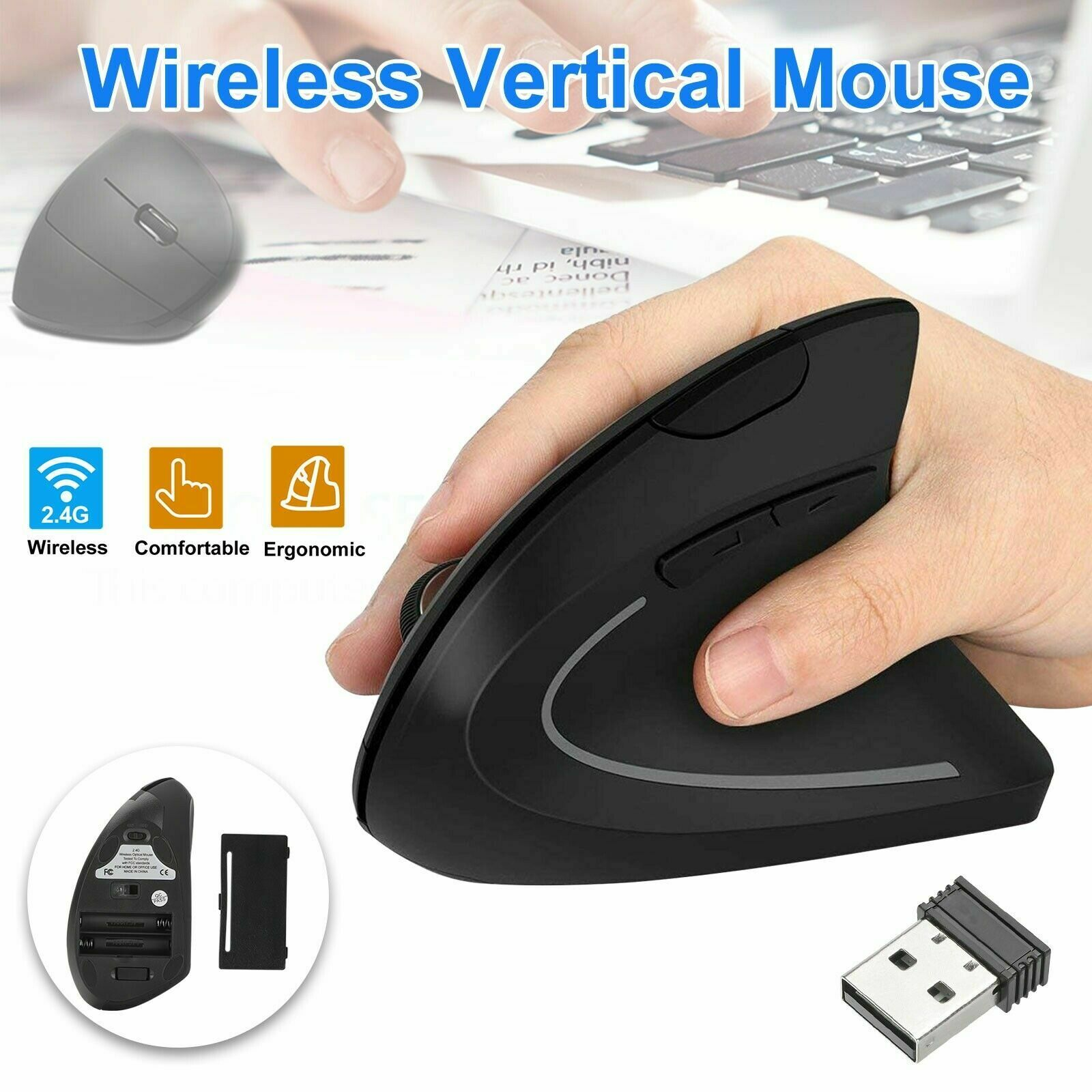 Ergonomic Mouse Optical Vertical Mice 6 Keys USB Wireless 2.4GHz 1200DPI For PC Computers/Tablets & Networking