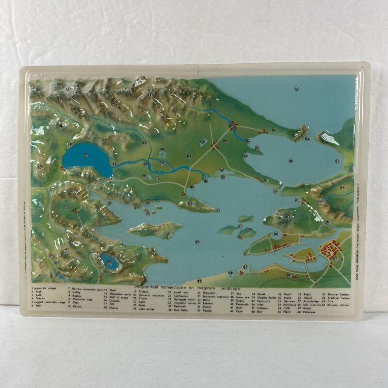 3D Geographic Nomenclature Plastic Map of Imaginary Landscape Vintage Teaching