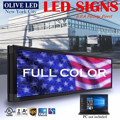 Olive Led Sign Full Color 12x41 Programmable Scrolling Message Outdoor Display